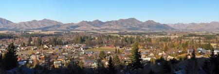 Hanmer Springs township and mountain panorama in the middle of Winter, Canterbury New Zealand