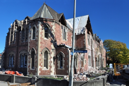 Christchurch, New Zealand - April 30: The eathquake damaged historic Old Girls High School building on the corner of Armagh and Montreal Streets prior to demolition on April 30, 2011 in Christchurch. Stock Photo - 14444490