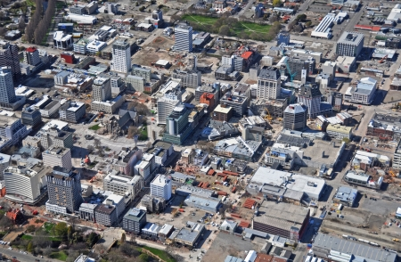 extent: Christchurch, New Zealand - September 21, 2011: Aerial view of Christchurch reveals the extent and progress of building demolitions in the central city after recent devastating earthquakes on September 21, 2011 in Christchurch.