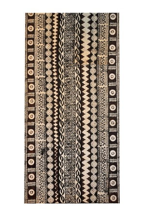 Fiji traditional hand made woven cloth in vertical format isolated on a white background.