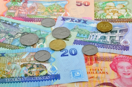 five dollars: Fijian Currency Including 2, 5, 10, 20 & 50 Dollar Notes and a selection of coins.