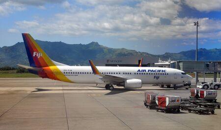 Nadi, Fiji - October 03, 2012: Air Pacific Boeing 737-800 bing Pushed out at Nadi International Airport, Fiji. Editorial