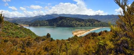 tasman: Marahau Lagoon panorama - start of the famous Abel Tasman National Park Walkway and kayak adventures, New Zealand