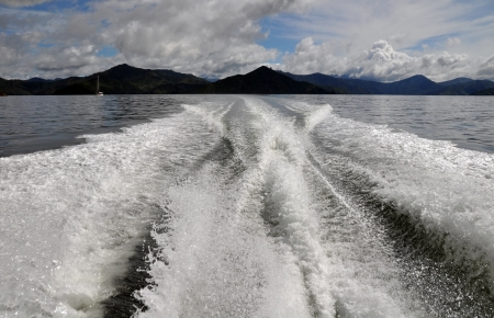 marlborough: Cruising the Marlborough Sounds, New Zealand  In the foreground is a motor boat wake and in the background are the hills of Queen Charlotte Sound  Stock Photo
