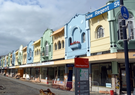 Christchurch, New Zealand - February 17, 2013: The beautiful boutique shops of New Regent street are being restored after a series of devastating earthquakes.