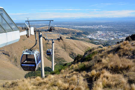 christchurch: Christchurch Gondola viewed from the top of the Port Hills. In the background is the city of Christchurch, New Zealand.