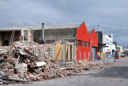 Christchurch, New Zealand - April 01, 2011: Commercial buildings and warehouses on the southern side of St Asaph Street after the earthquake on April 01, 2011. Stock Photo - 18777642