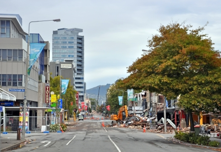 Christchurch, New Zealand - March 17, 2011: Buildings on the corner of Colombo and Peterborough streets collapse after an earthquake on March 17, 2011 in Christchurch. Stock Photo - 18777647