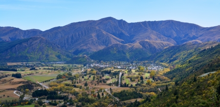 An aerial view of the famous tourist town of Arrowtown, New Zealand in Autumn   photo