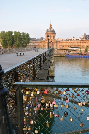 inscribed: Inscribed love padlocks on the Pont Des Arts bridge in Paris France