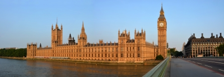 The London Houses of Parliament   Big Ben Panorama in early morning from Westminster Bridge  Stock Photo