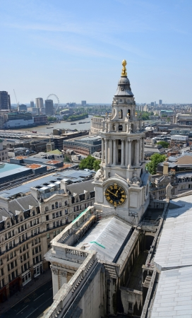 st  paul   s cathedral: Aerial view of St Paul s Cathedral Clock Tower  Stock Photo