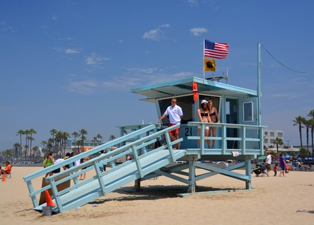 Los Angeles, USA - July 14, 2013  Babe Watch at the Life Guard Hut at Venice Beach
