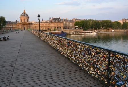 inscribed: The hundreds of thousands of love inscribed padlocks on the Pont Des Arts Bridge, Paris France
