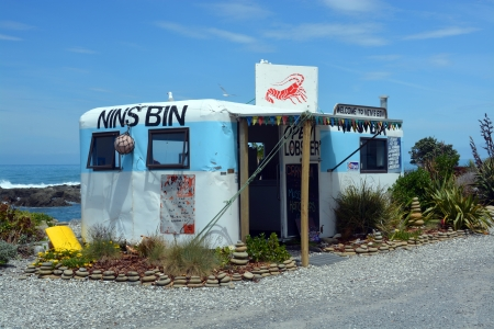 kaikoura: Iconic Nins Bin Crayfish   Lobster Shop - one of the oldest on the Kaikoura coast of New Zealand  Editorial