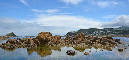 Panoramic view of Island Bay rocks, Wellington  New Zealand