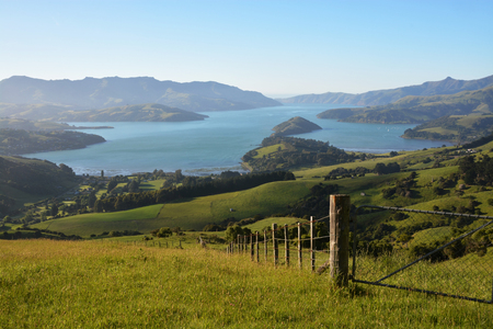 christchurch: Akaroa Harbour viewed fromt the Summit Road at Dawn, New Zealand Stock Photo
