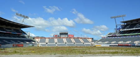 Christchurch, New Zealand - October 12, 2013  Lancaster Park, formerly Jade Stadium and currently known as AMI Stadium through sponsorship rights lies derelect and awaiting demolition after a massive earthquake in February 2011
