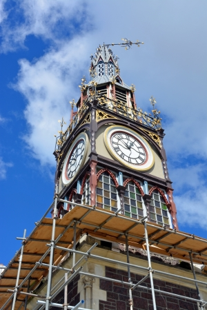 Christchurch Earthquake Rebuild - Repairs start on the landmark Diamond Jubilee Clock Tower  in Victoria Street, Christchurch. Note the clock is stuck on ten to one on the afternoon of February 22, 2011 when a massive earthquake struck.