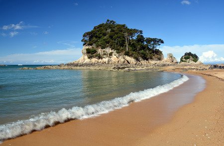 tasman: The golden sands   crystal clear water at Kaiteriteri beach, New Zealand with copy space