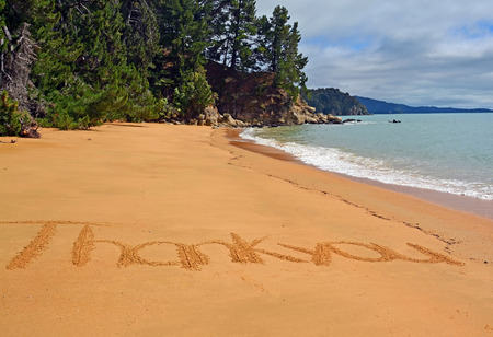 new zealand beach: Thank you card from New Zealand  Words on a beach in the Abel Tasman National Park with lots of copy space   Stock Photo