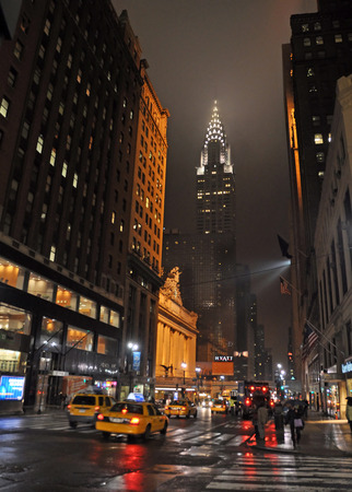 42nd: New York, USA - April 06, 2008  East 42nd Street on Rainy Night with Grand Central Terminal and Chrysler Building in the background  Editorial