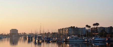 marina water: Marina Del Rey at dawn landscape, Los Angeles USA  Stock Photo