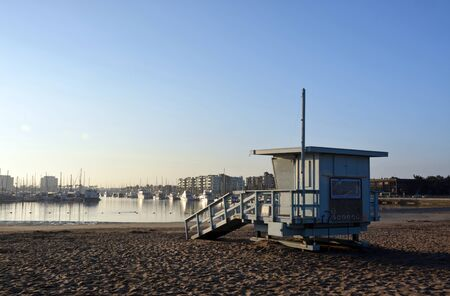 Life Guard Hut at Marina Del Rey beach, Los Angeles, USA at dawn on a summer