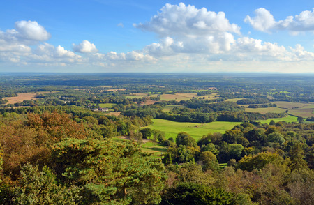 Panoramic View from Leith Hill across the Surrey South Downs & Weld to Brighton, UK.