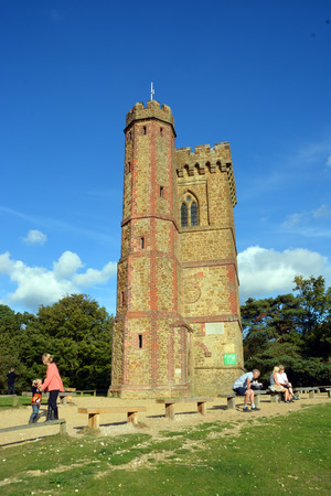 london to brighton: Leith Hill, United Kingdom - October 03, 2014: Tourists visiting Leith Hill Tower on top of the North Downs in Surrey commands a 360 degree view from Brighton to London.