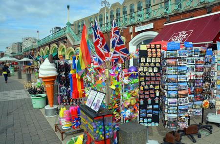 brighton beach: Brighton, United Kingdom - October 02, 2014: Tourist souvernirs for sale on Brighton Beach and Boardwalk.