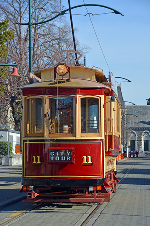 christchurch: Vintage Tram operating sightseeing tours on Worcester Boulevard Christchurch, new zealand.