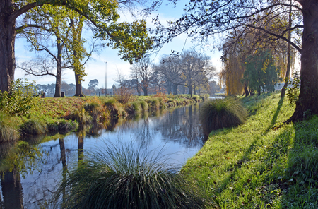 avon: River Avon and Hagley park on a sunny winter day in Christchurch, New Zealand. Stock Photo
