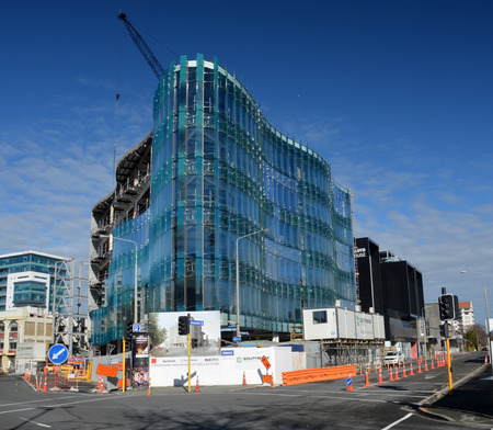 devastating: Christchurch, New Zealand - September 13, 2014: 151 Cambridge Terrace Innovative Glass Office Building Nears Completion Editorial