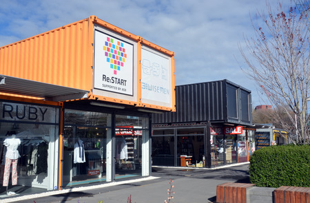 relocated: Christchurch, New Zealand - September 13, 2014: 2014: Restart Container Shops have been relocated to the Western End of Cashel Street Mall. Editorial
