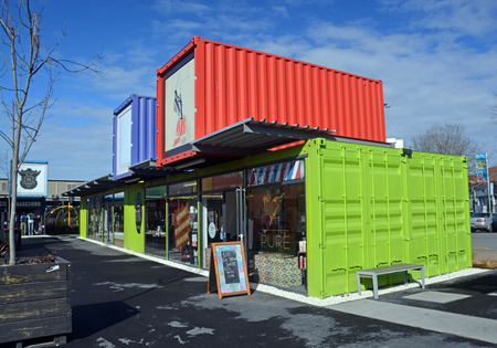 devastating: Christchurch, New Zealand - September 13, 2014: 2014: Restart Container Shops have been relocated to the Western End of Cashel Street Mall. Editorial