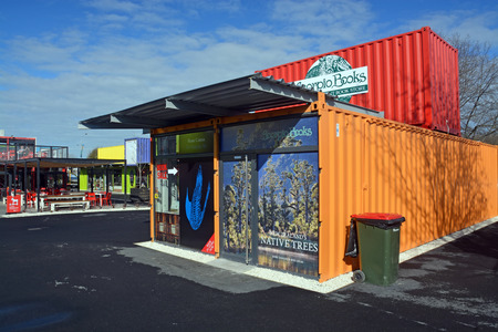 devastating: Christchurch, New Zealand - September 13, 2014: 2014: Scorpio Books Restart Container Shop has been relocated to the Western End of Cashel Street Mall.