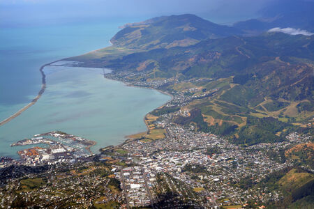 zealand: Aerial View of Nelson City, Port, Marina and Surrounding Hills,  New Zealand. Stock Photo