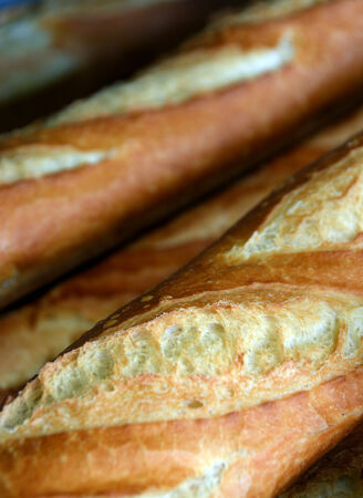 detailed view: Detailed View of Fresh Baked French Loaves for Sale.