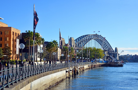Sydney Harbour Bridge from Circular Quay with Museum of Contemporary Art Gallery in the foregraound.