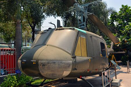 earth moving equipment: Ho Chi Minh City Vietnam  April 10 2015: American Huey Helicopter on display at the War Remnants Museum. Editorial