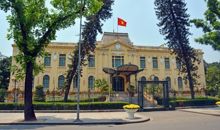 colonial building: French Colonial building in central Hanoi Vietnam