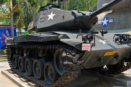 earth moving equipment: Ho Chi Minh City Vietnam  April 10 2015: American Chaffee Reconnaissance Light Tank on display at War Remnants Museum. Editorial