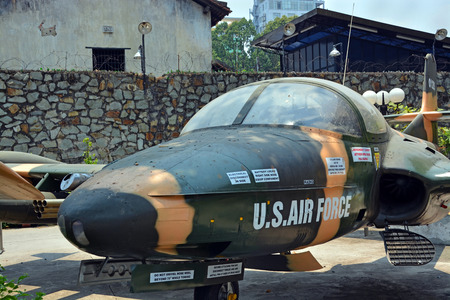 earth moving equipment: Ho Chi Minh City, Vietnam - April 10, 2015: American Cessna Jet Fighter Plane on display at War Remnants Museum. Editorial