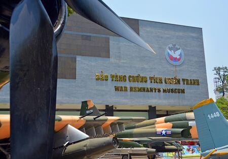 remnants: Ho Chi Minh City, Vietnam - April 10, 2015: American captured war planes outside the War Remnants Museum building.