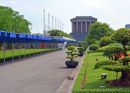 mausoleum: Ho Chi Minh Mausoleum building & gardens in Spring in Hanoi Vietnam. Stock Photo