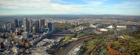 st kilda: Melbourne, Australia - May 14, 2014: Aerial panoramic View of Melbourne City, Yarra River  Sports Stadiums including the Rod Laver Arena home of the current Australian Tennis Open.