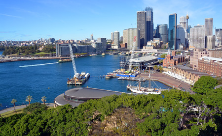harbours: Circular Quay, harbour  Rocks district aerial panorama from the Harbour Bridge. The city is in the background. Sydney Australia.