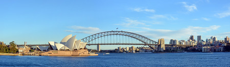 sea port: Sydney, Australia - July 17, 2014: Sydney Harbour, Bridge, Opera House  North Sydney  Panorama