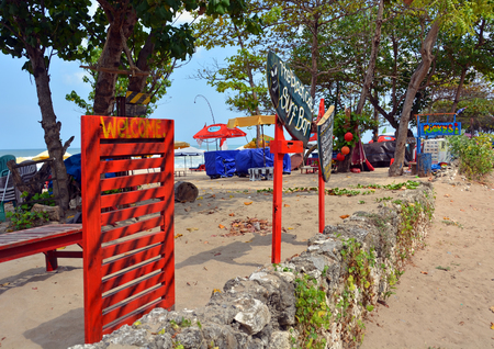 legian: Bali, Indonesia - September 16, 2015: Welcome to The Black Cat Surf Bar at Legian Beach, Bali.